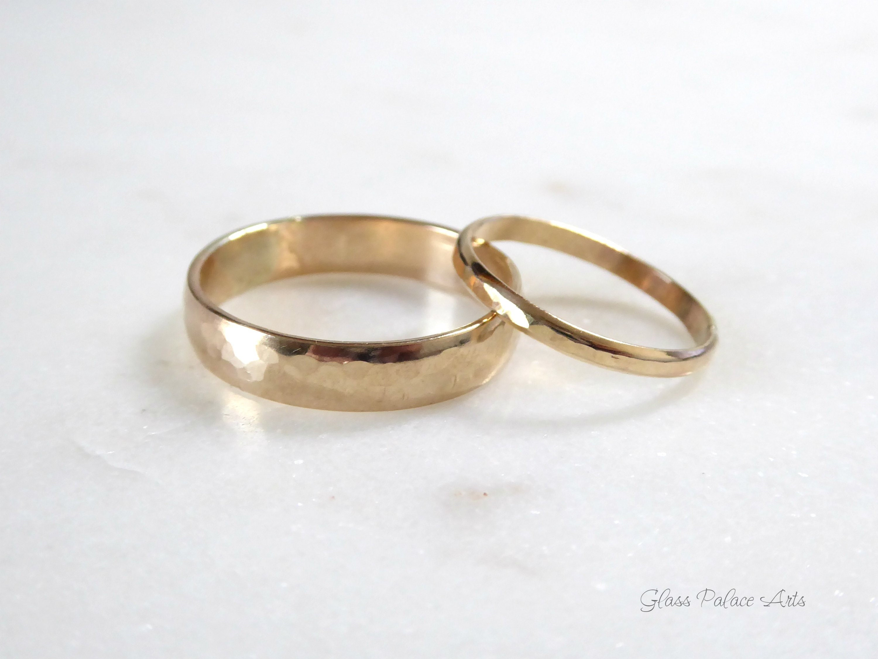 e8e5e872910e7 Couples Ring Set 14k Gold Fill, Promise Rings For Couples Engagement,  Matching Wedding Bands His And Hers, Affordable Hammered Minimalist
