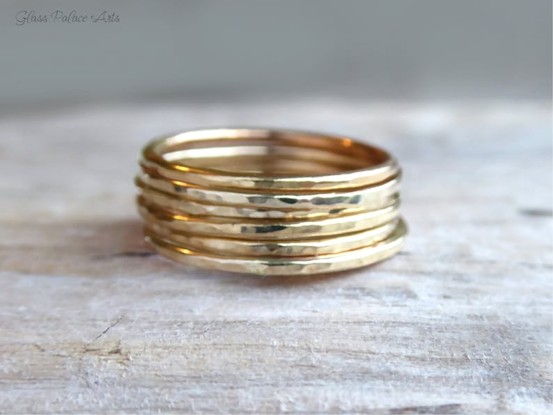 7de9799b56bd2 Gold Stackable Rings For Women, Simple Ring Set, Modern Minimalist Hammered  Thin Band 14k Gold, Skinny Thumb Rings, Gift For Her Under 20