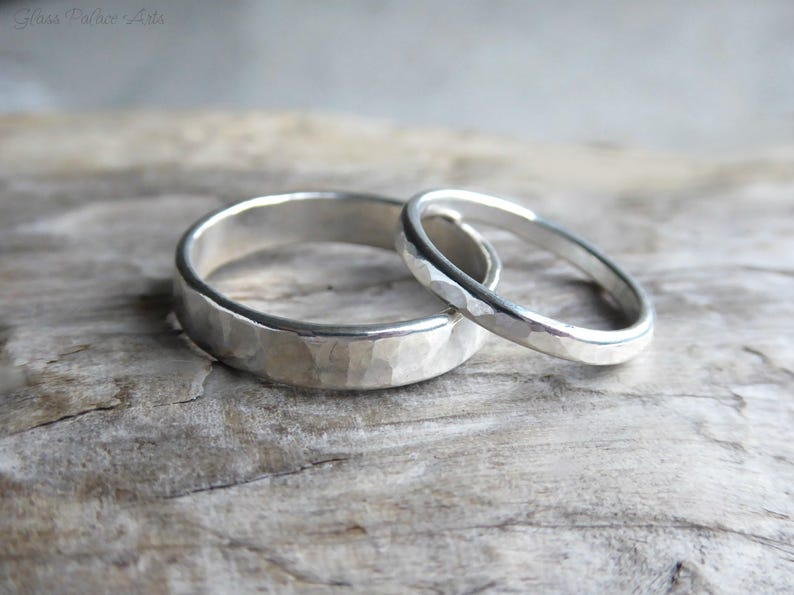 4e39e3f050416 Couples Ring Set Sterling Silver, His and Hers Promise Rings, Minimalist  Hammered Matching Couples Wedding Bands