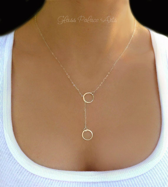 Jewelry Gift for Her Circles Necklace Pearl Necklace Sterling silver Necklace Circles and Pearl Lariat Necklace