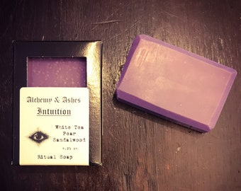 INTUITION ritual soap-vanilla sandalwood soap, divination, spirit communication, vegan soap,witch supply,witchcraft,pagan ritual,purple soap