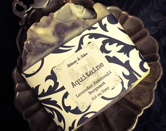 Aquitaine - 12th Century Cold Process Soap - Lavender, Patchouli, Bergamot - Plant Based with Herbs & Essential Oils