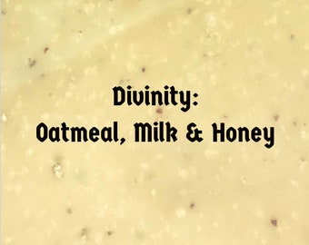 DIVINITY homemade soap~ oatmeal & honey for dry skin, sensitive skin, cold process moisturizing vegan soap, unscented exfoliating soap