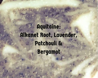 AQUITAINE handcrafted Lavender Patchouli cold process soap ~moisturizing olive oil soap for dry skin, herbal soap, natural soap,artisan soap