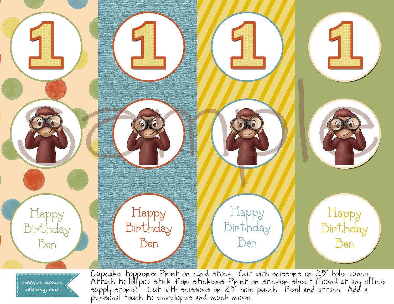 Diy Printable Curious George Cupcake Toppers