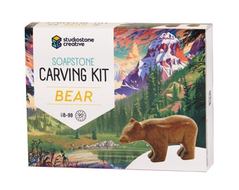 Bear Soapstone Carving and Whittling—DIY Arts and Craft Kit. All Kid-Safe Tools and Materials Included. For 8 to 99+ Years.