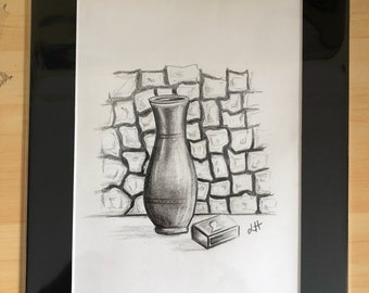 Vase - Mounted Original pencil drawing