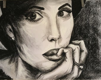 Contemplating one off a kind Original artwork in charcoal