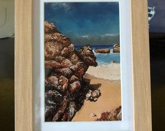 Beach rocks framed print of original artwork