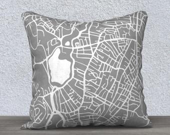 Jamaica Plain Boston Map Pillow Cover