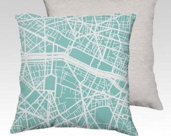 Paris Map Pillow Cover
