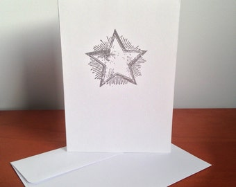 Heat Embossed Card - Shining Star in Silver on White