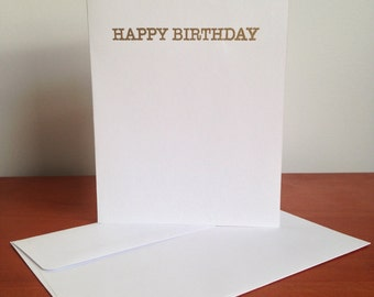 Heat Embossed Card – Happy Birthday in Gold on White