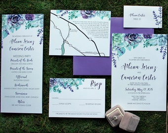 Downloadable Purple Succulent and Lavender Wedding Invitations, Save the Dates, Programs, Table Numbers, Menus and Place Cards : I Design