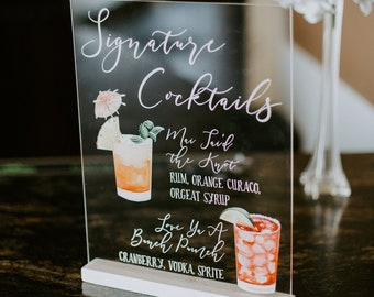Custom Acrylic Bar or Cocktail Sign for Signature Drinks at your Wedding, His and Hers Drinks