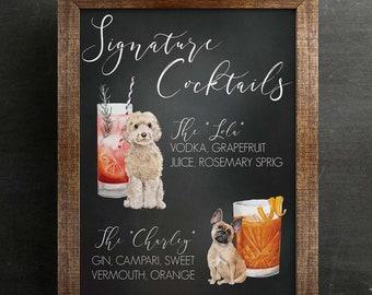 Downloadable Dog or Cat Signature Cocktails Sign, Two Dog Signature Drink Bar Menu, Wedding Bar Menu, Wedding Bar Sign, Bar Wedding Poster