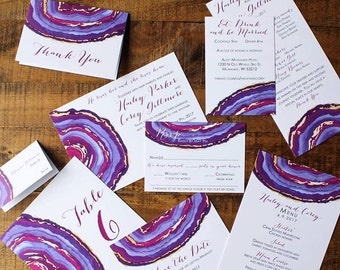 Downloadable Agate and Geode Watercolor Wedding Invitations, Save the Dates, Programs, Menus, Table Numbers, Place Cards: I Design