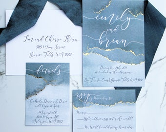 Slate Blue and Gold Foiled Watercolor Wedding Invitation Suite - Dusty Blue Wedding Invitations - Watercolor Wedding Invitations