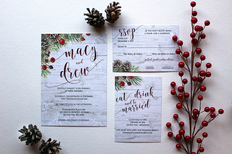 Winter berry pine cone Christmas greens & snow Wedding image 0