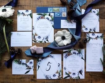 Downloadable Navy Blue Winter Wedding Invitations, Save the Dates, Menus, Table Numbers, Programs, Thank You's, Place Cards : I Design