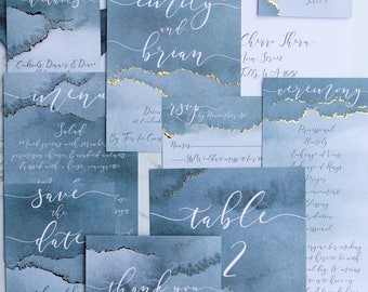 Downloadable Dusty Blue Watercolor Wedding Invitations, Save the Dates, Menus, Table Numbers, Place Cards & Programs: I Design