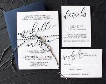 Minimalist & Modern Navy Blue Wedding Invitations - Modern Wedding Invitation - Minimalist Wedding Invitation - Navy Blue Wedding Invitation