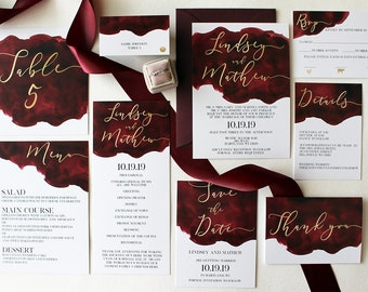 Downloadable Burgundy and Gold Watercolor Wedding Invitations, Programs, Save the Dates, Menus, Place Cards, Table Numbers: I Design