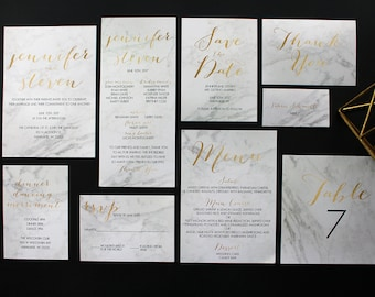 Downloadable Modern Marble Stone and Gold Foil Wedding Invitations, Save the Dates, Programs, Menus, Table Numbers : I Design