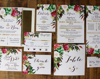 Downloadable Bohemian Floral and Gold Foil Wedding Invitations, Save the Dates, Programs, Menus, Table Numbers, Place Cards : I Design