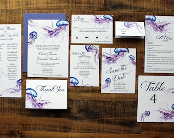 Downloadable Tropical Watercolor Jellyfish Wedding Invitations, Save the Dates, Programs, Menus, Table Numbers : I Design