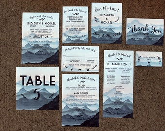 Downloadable Watercolor Mountain Wedding Stationery, Wedding Invitation, Save the Date, Program, Table Number & Place Card: I Design