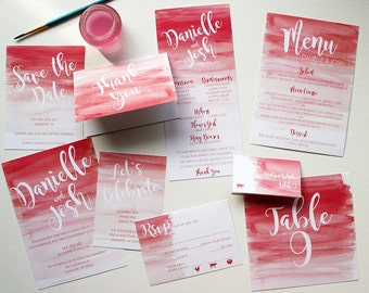 Downloadable Ombre Watercolor Wedding Invitations, Programs, Save the Dates, Menus, Table Numbers, Place Cards : I design