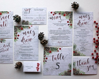 Downloadable Winter berry, pine cone, Christmas greens & snow wedding stationery suite, invitations, save the dates, programs: I Design