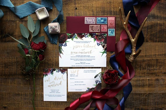 Downloadable Burgundy And Navy Blue Floral Wedding Invitations Save The Dates Menus Programs Table Numbers Place Cards With Gold Foil