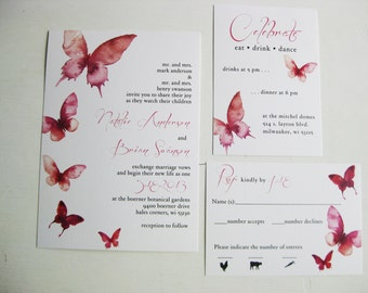 Downloadable Watercolor Butterfly Wedding Invitations, Save the Dates, Programs, Menus, Place Cards, Table Numbers : I Design