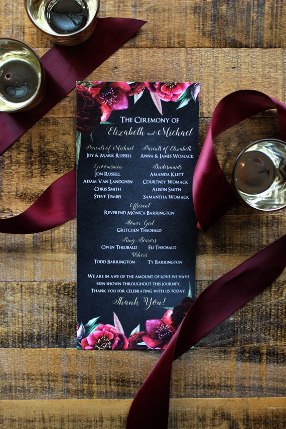 1508a0ba27d Burgundy   Merlot Floral and Chalkboard with Gold Calligraphy