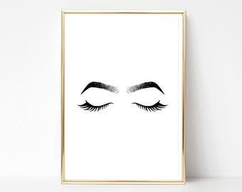 Eyes and Brows Illustration Instant Download Wedding Poster Salon Poster Printable