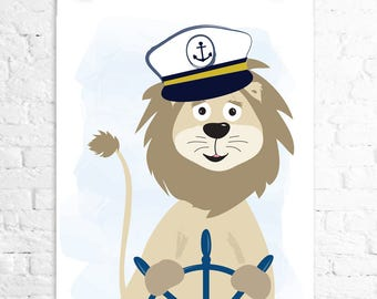 ship captain lion 8x10 print kids wall art