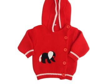 Red knitted cardigan with elephant applique hooded sweater hoody size 3 months vintage 70s