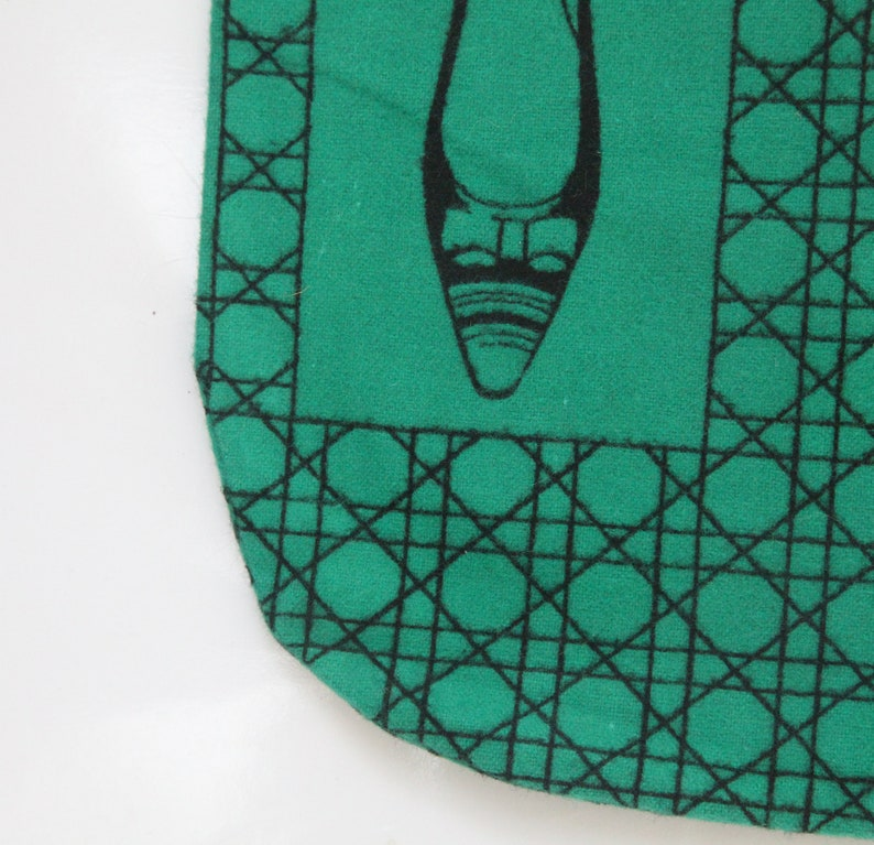 Set of 2 green felt shoe storage bags vintage 50s or 60s for women