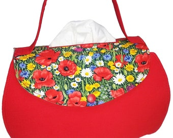 Red handbag with poppy flowers-cosmetic box upholstery-fabric tissue boxes Cover