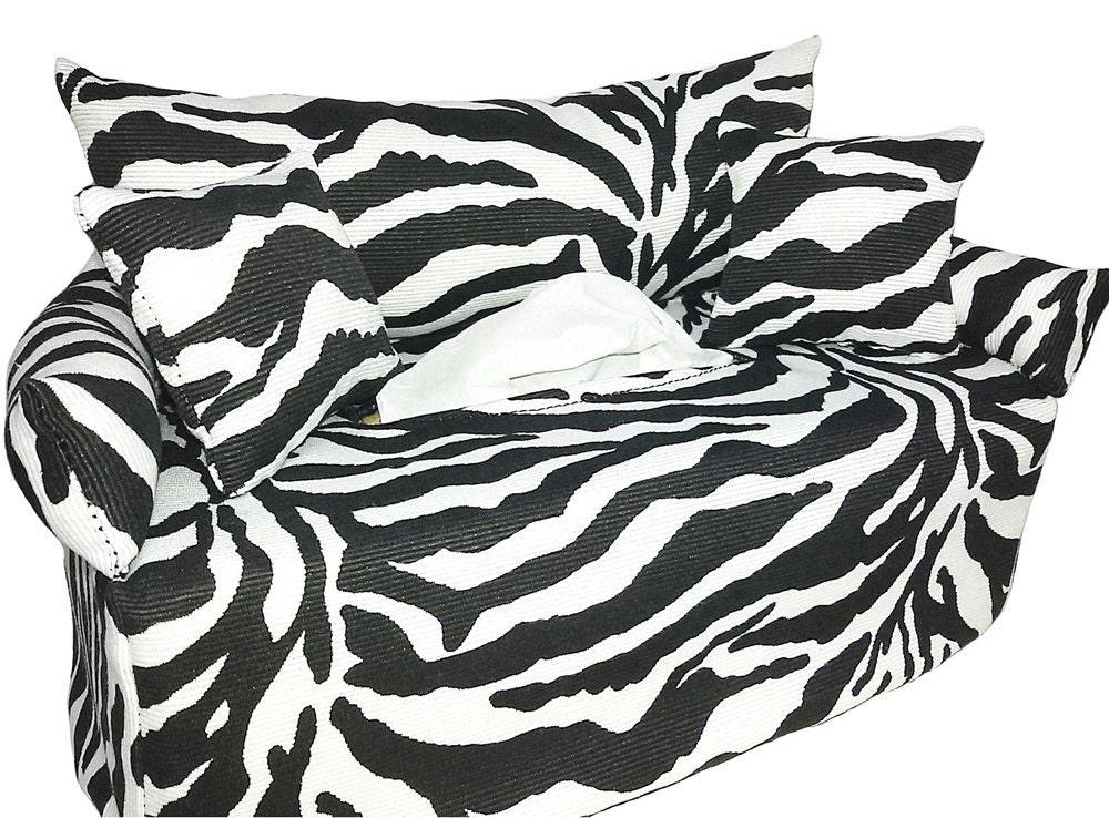zebra minisofa bezug f r kosmetikbox couch tissue box etsy. Black Bedroom Furniture Sets. Home Design Ideas