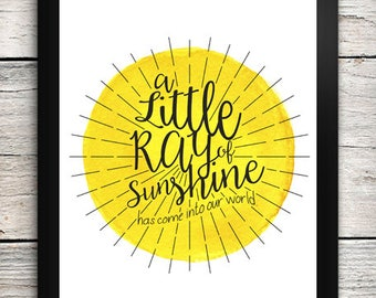 Printable Little Ray of Sunshine Digital Print - Instant Download