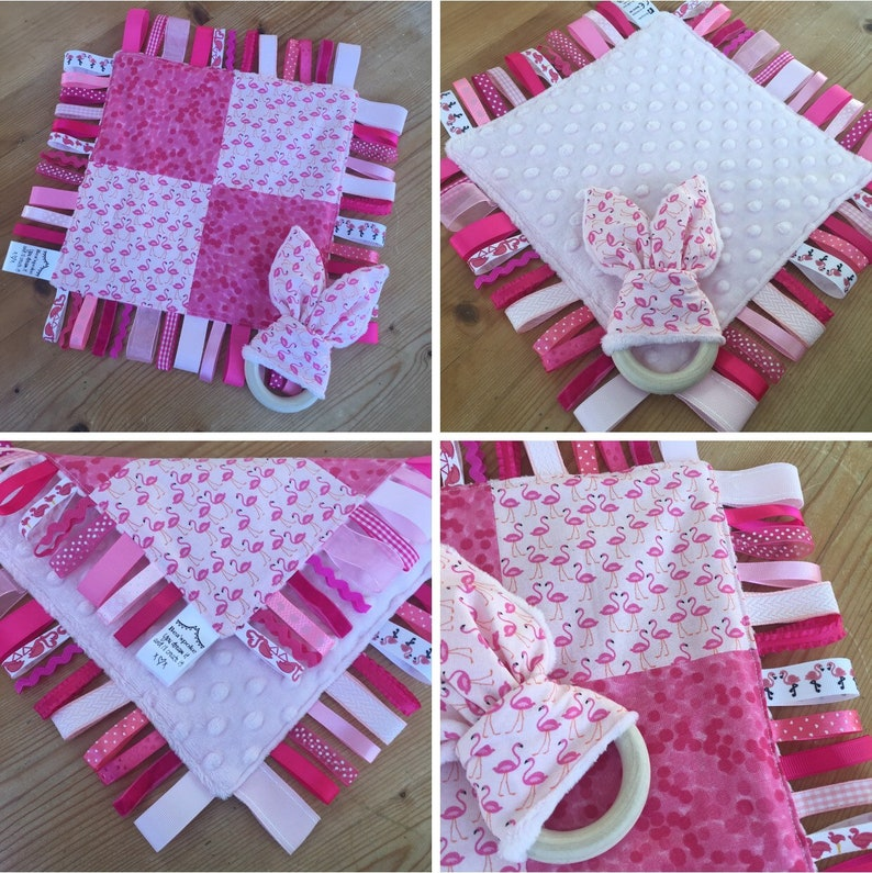 Baby Flamingo Pink Girl Taggie Ribbon Tag Quilt Teether Wooden  7484cb365