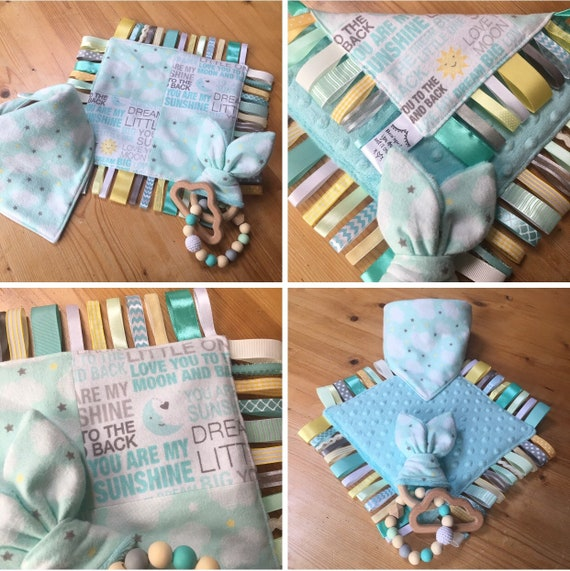 Baby Clouds Ribbon Taggie Neutral Girl Boy Grey Mint Moon  43fa549fc