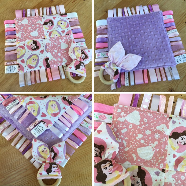 Baby Princess Pink Lilac Girl Taggie Ribbon Quilt Teether  aeb824201