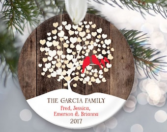 Lovebirds Ornament, Family of 6, Family of 7, Family of 8, Family Ornament, Personalized Christmas Ornament, Rustic fake Wood Ornament OR864
