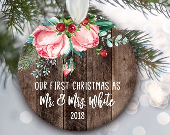 "Our First Christmas as Mr & Mrs Ornament, Floral Rose ""Wood"" Personalized Christmas Ornament, Bridal Shower Gift Bride and Groom Gift OR804"