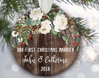 "Rustic Wedding Ornament, Our First Christmas Married or Engaged, White rose Personalized Christmas Ornament on ""wood"" ornament OR797"