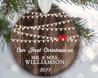 beaf2b8a154a Rustic Our First Christmas as Mr and Mrs Ornament First Christmas Married  Ornament Wedding lights